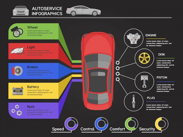 Infographics di servizio automatico con l'automobile della vista dai diagrammi dei dettagli della macchina superiore