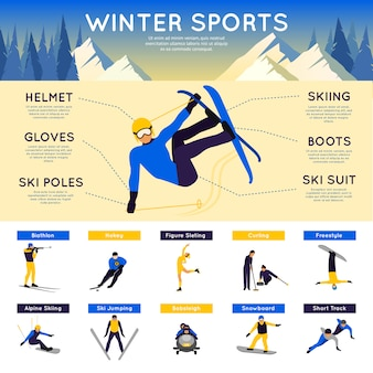 Infographics di sport invernali