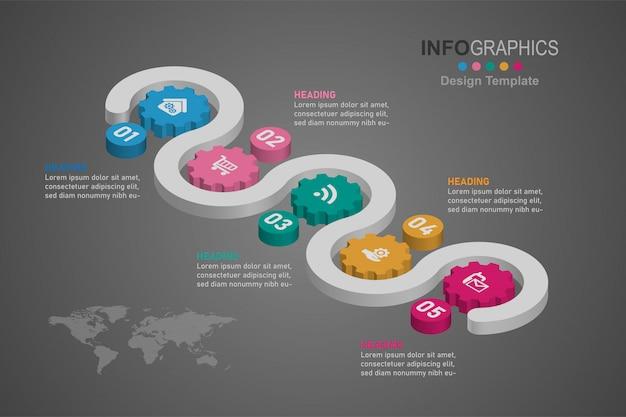 Infographics di timeline di processo aziendale 5 passi.