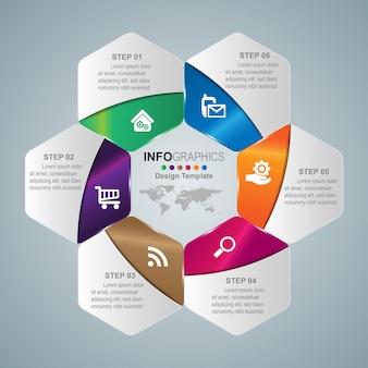 Infographics di timeline di processo aziendale 6 passaggi.
