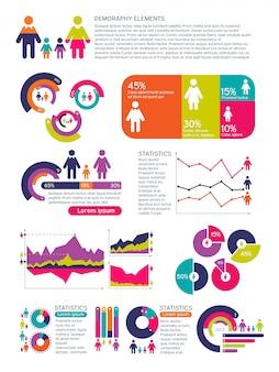 Infographics di vettore della popolazione della gente con i diagrammi di affari, i diagrammi e le icone della donna dell'uomo. concetto economico globale