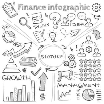 Infographics di vettore di finanza disegnata a mano con diagrammi di doodle e diagrammi di schizzo. diagramma di affari di finanza e schizzo di scarabocchio del diagramma, illustrazione infographic del disegno della freccia
