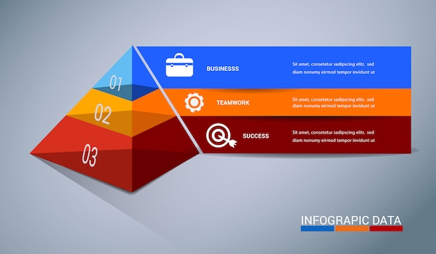 Infographics digitale moderno astratto dell'insegna di vettore del modello 3d.