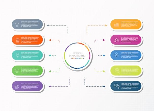 Infographics ed icone di base per il concetto di affari.