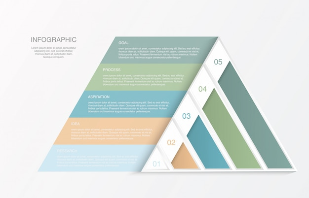 Infographics triangolo piramide colorata.