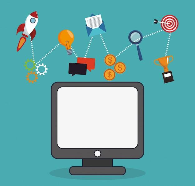 Informazioni aziendali sul marketing digitale del computer