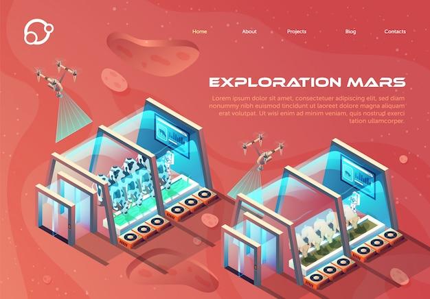 Informazioni flyer esplorazione marte lettering.