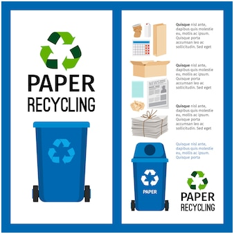 Informazioni sul contenitore blu immondizia con carta