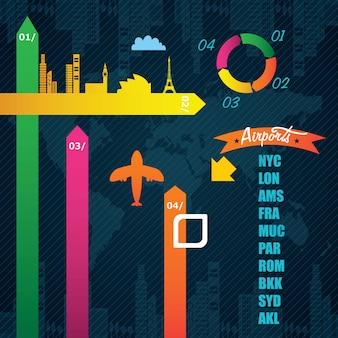 Informazioni sull'aeroporto colorato di infographics di trasporto su sfondo scuro