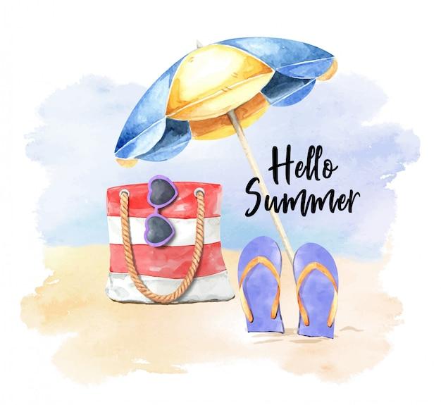 Infradito acquerello, ombrello, occhiali da sole e borsa sulla spiaggia