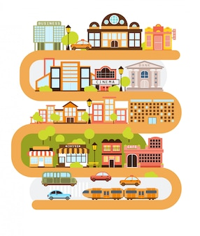 Infrastruttura della città e tutti gli edifici urbani allineati con la linea arancione curva nell'illustrazione grafica di vettore.