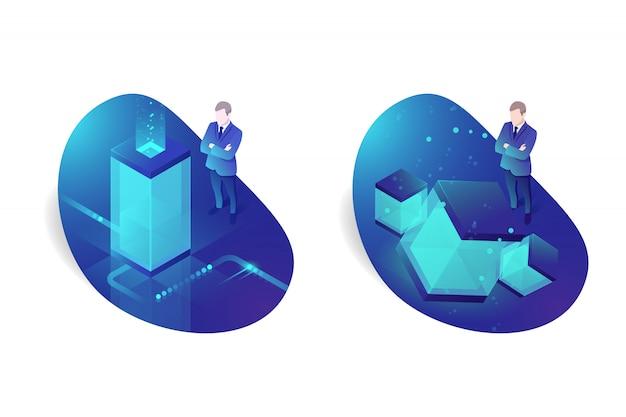 Infrastruttura di rete, topologia di sala server, data center cloud, due uomini d'affari
