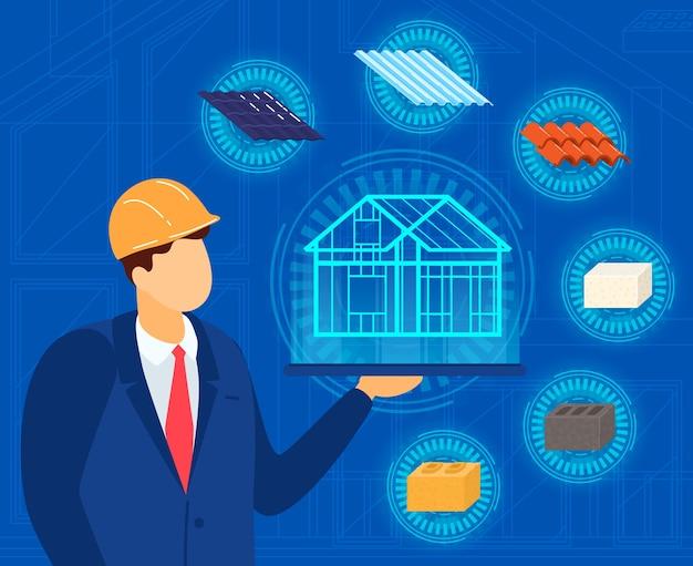 Ingegnere architetto con illustrazione del progetto di casa.