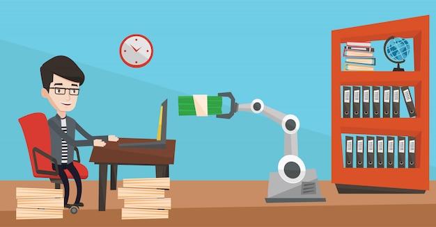 Ingegnere che programma una mano robotica.