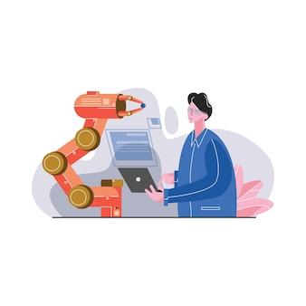 Ingegnere di automotion use laptop per la programmazione dell'illustrazione robot di vettore del braccio