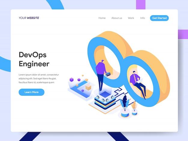 Ingegnere di sviluppo e operazioni isometric illustration per la pagina web