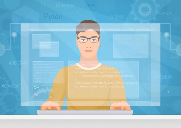 Ingegnere informatico uomo che utilizza l'interfaccia dello spazio di lavoro virtuale