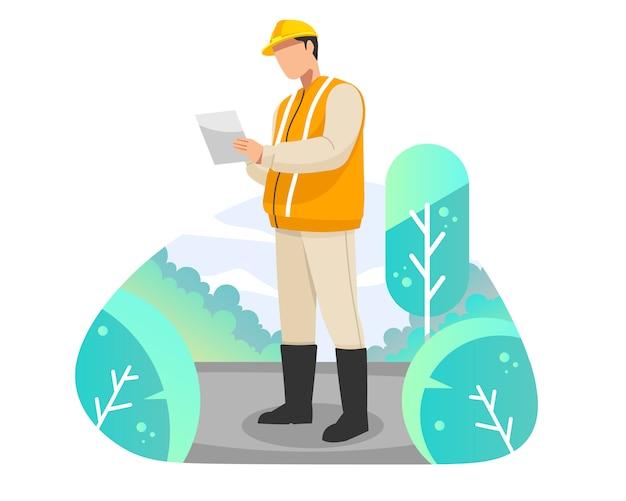 Ingegnere vicino all'illustrazione piana di vettore del lavoro di riparazione della strada