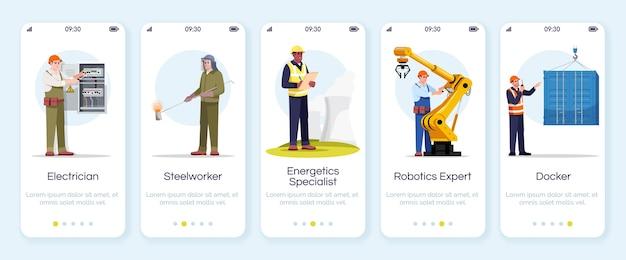 Ingegneri che eseguono l'onboarding del modello di schermata dell'app mobile. operaio siderurgico, elettricista, esperto di robotica. specialista in energetica. procedura dettagliata del sito web con i personaggi. smartphone cartoon ux, ui, gui
