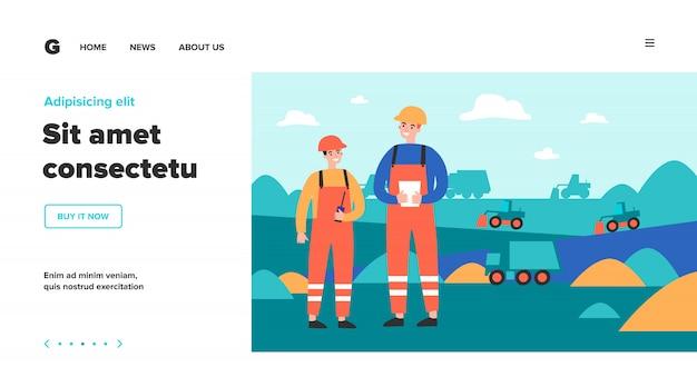 Ingegneri della miniera di carbone che indossano uniformi protettive