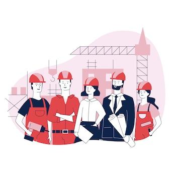 Ingegneri e operai edili in piedi insieme