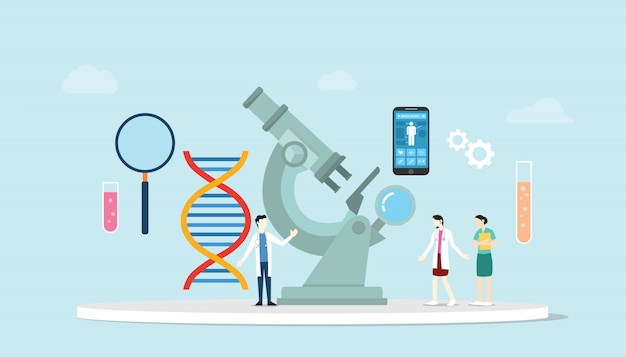 Ingegneria della salute delle scienze genetiche con microscopio e ricerca di team di laboratorio con cromosoma del dna con stile piatto moderno.