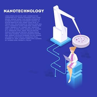Ingegneria genetica e concetto di nanotecnologia. esperimento di biologia e chimica. invenzione e innovazione in medicina. tecnologia futuristica. illustrazione isometrica