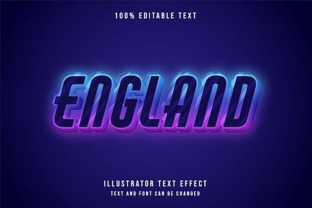 Inghilterra, 3d testo modificabile effetto blu gradazione viola rosa neon stile