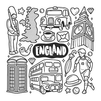 Inghilterra icone disegnate a mano doodle da colorare