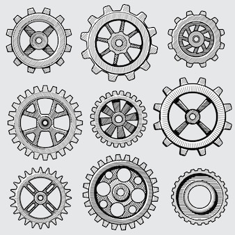 Ingranaggi meccanici di schizzo retrò. parti d'annata disegnate a mano della ruota del dente dell'illustrazione di vettore della macchina della fabbrica