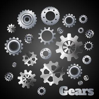 Ingranaggi metallici ingranaggi meccanismi ingegneri industriali illustrazione vettoriale poster