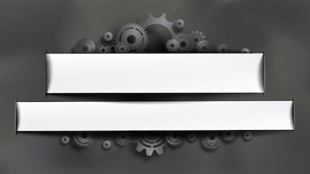 Ingranaggi neri e denti su sfondo grigio lavagna. cornice bianca con copyspace