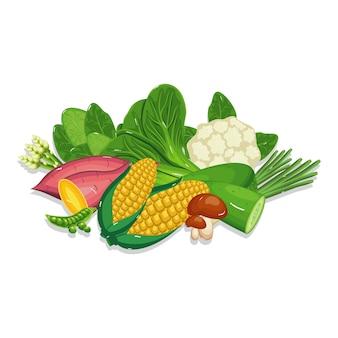 Ingrediente di cottura dell'alimento naturale sano fresco delle verdure