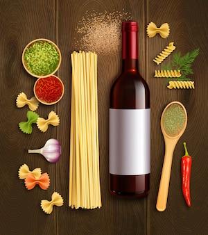 Ingredienti del piatto di pasta secca con bottiglia vino rosso in legno cucchiaio en peperoncino salsa poster realistico