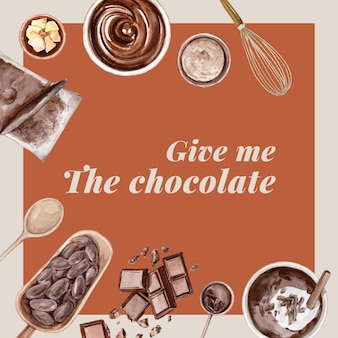 Ingredienti dell'acquerello del cioccolato che producono il forno del cioccolato, uovo, burro, illustrazione