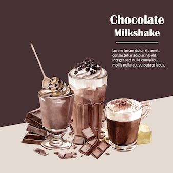 Ingredienti dell'acquerello del cioccolato, producendo bevanda al cioccolato, illustrazione