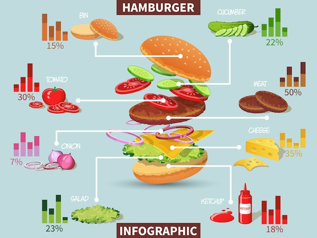 Ingredienti dell'hamburger infographic
