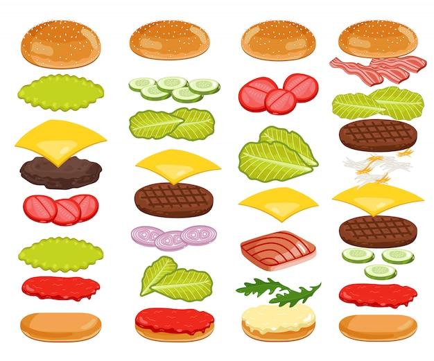 Ingredienti dell'hamburger messi su bianco