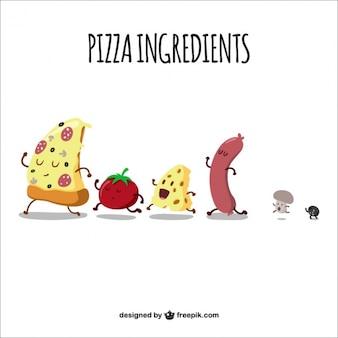 Ingredienti della pizza a piedi
