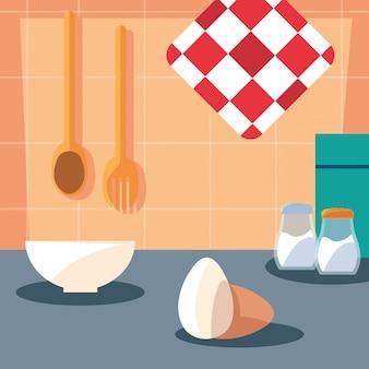 Ingredienti di pasticceria con scena di cucina piatto