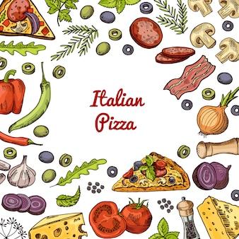 Ingredienti e spezie della pizza disegnati a mano con spazio vuoto al centro per il testo.