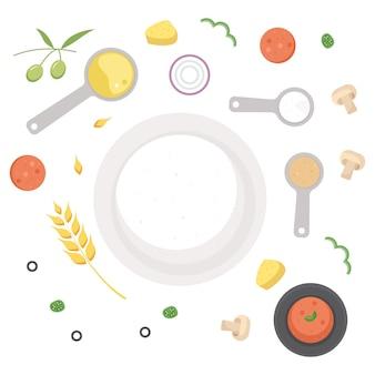 Ingredienti facendo un cerchio