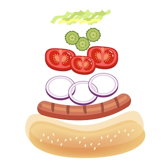 Ingredienti hot dog per cucinare a casa. panino di pane e salsiccia, pomodoro e salsa. illustrazione