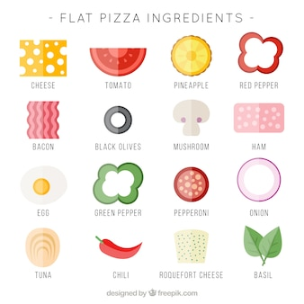 Ingredienti piatti per la pizza
