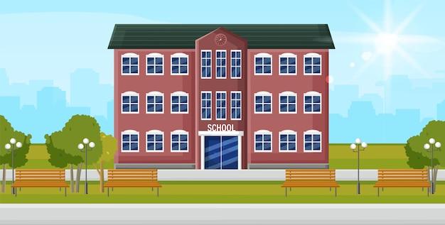 Ingresso alla scuola edificio di facciata di educazione. torna al concetto di scuola stile piatto