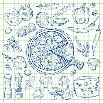 Ingridients di pizza italiana sagomati su foglio di cella notebook.