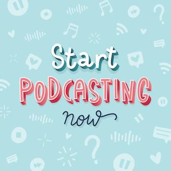 Inizia a podcast, scritte e doodle illustrazioni