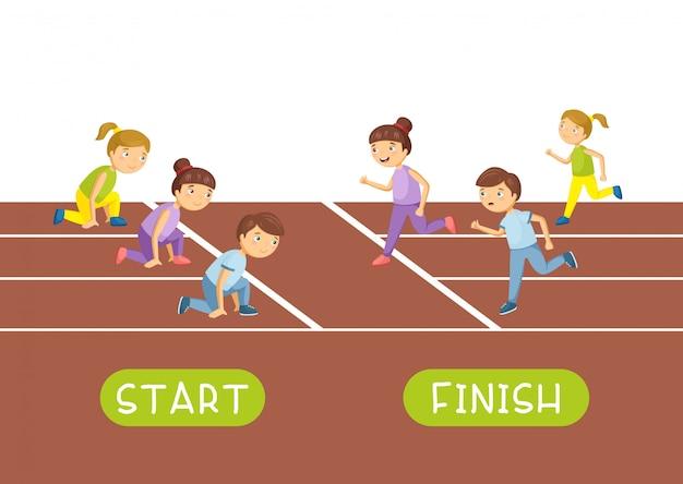 Inizia e finisci. contrari e contrari vettoriali. illustrazione di personaggi dei cartoni animati