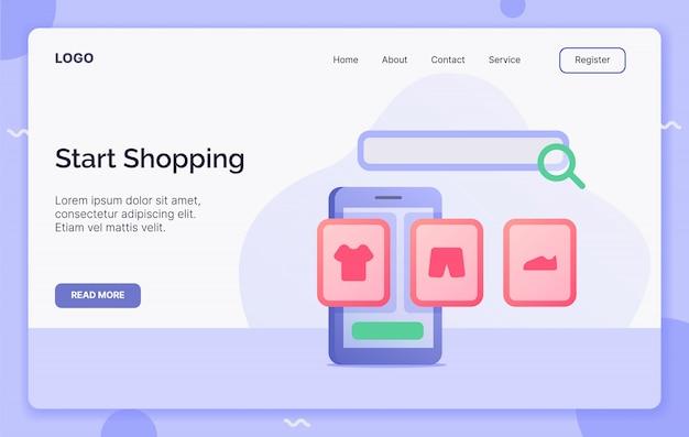 Inizia il concetto di campagna shopping per l'atterraggio di modelli di siti web o siti web di home page.