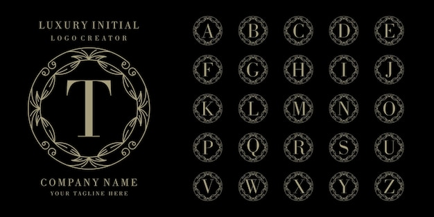Iniziale cornice floreale con logo design